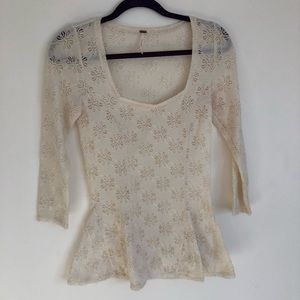 Free People Cream Lace Peplum Style Top